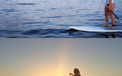 Sunset paddle surf